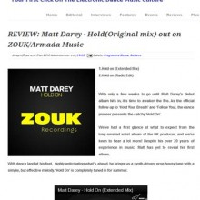 Matt Darey | Hold On | Single | Richard James Smith on Guitars | Trance Record of the Week | Flux BPM Online Review